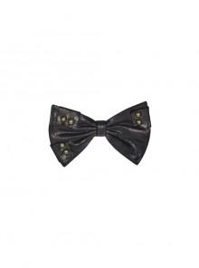 Leather Hasp Inkjet Imitation Metal Black Punk Vintage Bow Tie
