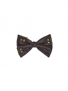 Leather Hasp Inkjet Imitation Metal Brown Punk Vintage Bow Tie