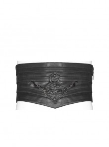 Front Metal Retro Decoration Side Zipper Back Waist Lace-Up Black Punk Chinese Style Waist Seal