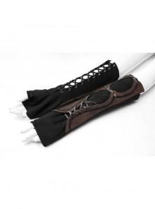 Metal Eyelets Lace-Up Embroidered Brown Punk Fingerless Vintage Gloves