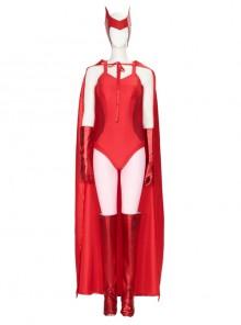 Wanda Vision Scarlet Witch Wanda Maximoff Halloween Cosplay Costume Sexy Red Bodysuit Set