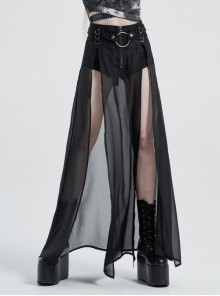 Front Metal Buckle Zipper Fake Two Pieces Black Knit Twill Splice Perspective Chiffon Punk Skirt