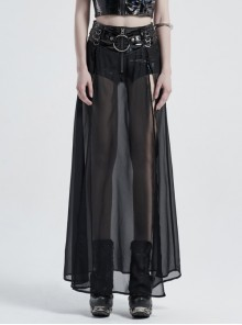 Front Metal Buckle Zipper Fake Two Pieces Black PU Leather Splice Perspective Chiffon Punk Skirt