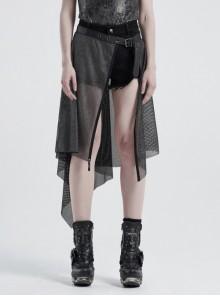 Metal Buckle Belt Skull Pendant Irregular Hem Silver Punk Mesh Skirt