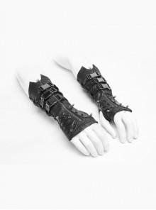 Metal Rivet Hasp Decoration Black Punk Gloves