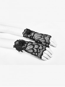Three-Dimensional Flower Decoration Black Gothic Fingerless Lace Gloves