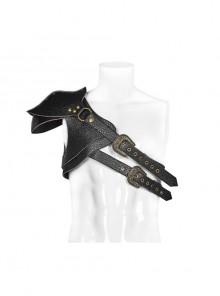 Eyelets Metal Buckle Loop One-Shoulder Black Punk PU Leather Armor Accessory
