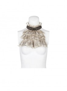 Metal Buckle Rivet Leather Loop Frill Lace White Punk Necklines