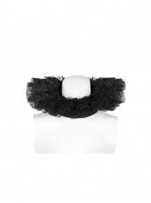 Black Pearl Ribbon Gothic Lace Collar