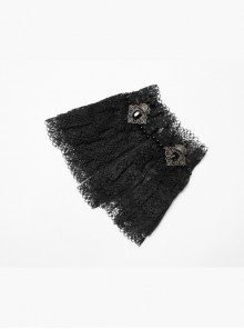 Pearl Buckles Metal Decoration Black Gothic Lace Fingerless Gloves