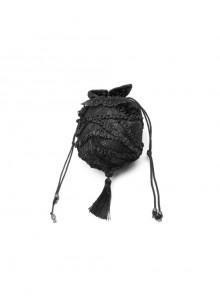 Black Satin Splice Lace Mesh Draw Rope Bottom Fringe Gothic Wallets
