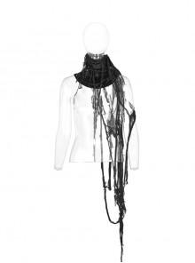 Right Metal Zipper Left Lace-Up Irregular Hem Black Gothic Lace Scarf
