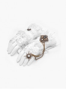 Metal Chain Star Pendant White Gothic Lace Fingerless Gloves