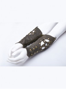 Metal Gear Nails Decoration Eyelets Lace-Up Brown Punk Cut-Out Gloves