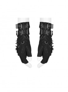 Metal Buckle Rivet Decoration Wrist Half Hollow-Out Black Punk Imitation Leather Gloves