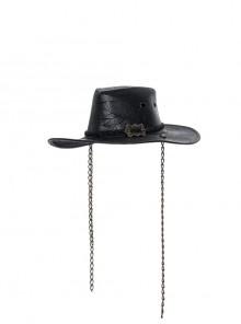 Metal Buckle Loop Side Chains Black Punk Carved Leather Cowboy Hat
