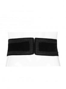 Front Zipper Exquisite Webbing Back Waist Lace-Up Black Gothic Weft Velvet Girdle