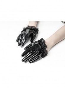 Black Gloss Paint Leather Lace Frill Gothic Half-Short Gloves