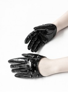 Black Lacquered PU Leather Rivet Decoration Punk Half-Palm Gloves