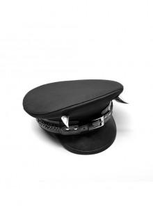 Metal Buckle Leather Loop Metal Chain Demon Corner Nail Black Punk Military Hat