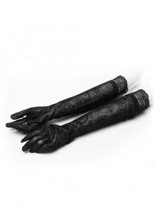 Flocking Mesh Lace Cuff Black Gothic Mittens