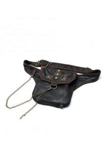 Metal Decoration Chain Leather Hasp Black Punk Retro Waist Bag