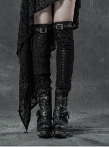 Metal Buckle Loop Lace-Up Front Embroidery Black Gothic Leg Sleeve