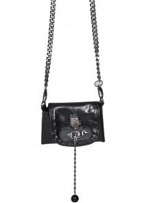 Skull Decoration Metal Pendant Chain Straps Black Punk Mini Leather Bag