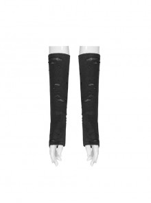 Snakeskin Pattern Broken Holes Mesh Black Punk Fingerless Gloves