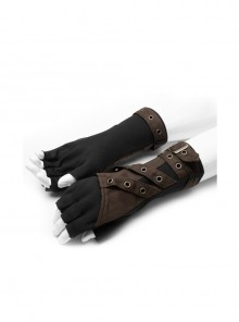 Fake Two Pieces Brown Buckle Straps Black Punk Knit Gloves
