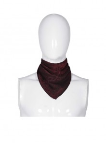 Wine Red Jacquard Gothic Triangular Veil