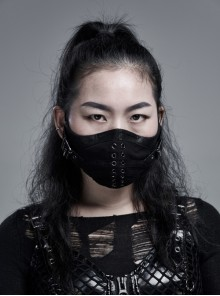 Cracked Texture Leather PU Printing Front Center Eyelets Metal Buckle Black Punk Women Mask