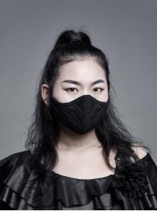 Outside Three-Dimensional Webbing Inside Mesh Knit Side Elastic String Black Gothic Women Mask