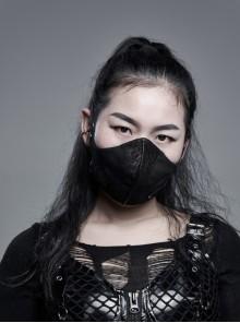 Black Coarse Woven Metal Rings Decoration Quadrilateral Buckle Side Elastic Rope Black Punk Women Mask