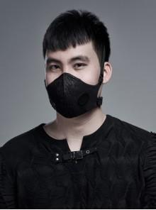 Black Coarse Woven Metal Rings Decoration Quadrilateral Buckle Side Elastic Rope Black Punk Men Mask
