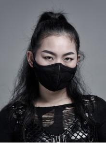 Side Elastic String Inside Mesh Knit Black Punk Simple Style Women Mask