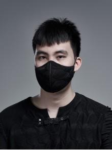 Side Elastic String Inside Mesh Knit Black Punk Simple Style Men Mask