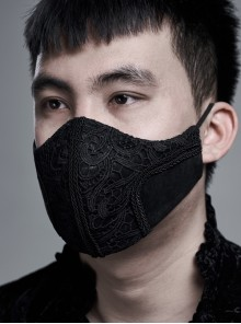 Dark Grain Embossed Front Three-Dimensional Embroidery Lace Black Gothic Men Mask