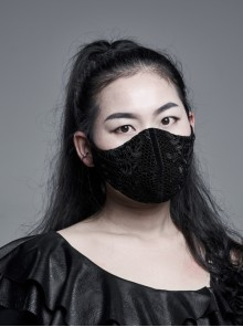 Side Metal Eyelets Lace-Up Weft Velvet Splice Lace Black Gothic Women Mask