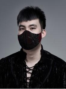 Side Metal Eyelets Lace-Up Weft Velvet Splice Lace Wine Red Gothic Men Mask