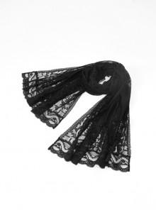 Front Center Bat Pattern Black Gothic Light Lace Shawl