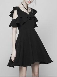 Gothic Cute Female Dark Lotus Leaf Hem Strap Dress