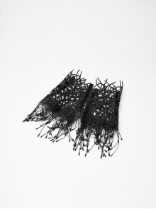 Hollow Vine Lace Tassel Hem Lobster Buckles Small Chains Black Gothic Gloves Neck Cover Three-Piece Set