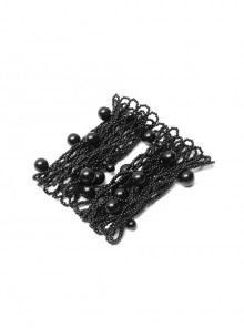 Hollow-Out Pearl Chain Black Gothic Pearl Sleeves And Collar Three-Piece Set