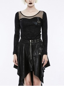 Front Chest Splice Mesh Metal Buckle Strap Round Collar Long Sleeve Black Punk Print Knit Leather T-Shirt