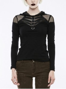 Shoulder Splice Mesh Front Chest D-Buckle Leather Strap Long Sleeves Black Punk Knit Hooded T-Shirt