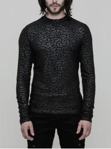 Black Jacquard Print Long Sleeves Tight Gothic T-Shirt