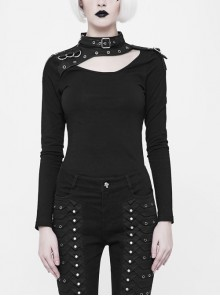 Metal Hasp High Collar Chest Hollow-Out D-Buckle Eyelets Decoration Long Sleeves Black Punk Tight T-Shirt