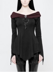 Off-Shoulder Wine Red Retro Boat Collar Front Chest Embroidered Flare Sleeve Lace Hem Black Gothic Knit T-Shirt