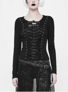 Leather Hasp Collar Front Metal Eyelets Lace-Up Long Sleeves Black Punk Knit T-Shirt